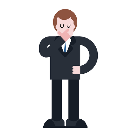 Businessman thinks isolated. Pensive Boss in suit. Hand face. Vector illustration
