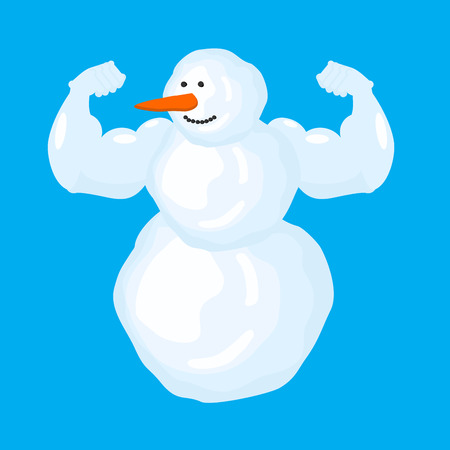 Strong snowman in blue background. Winter fitness. Snow Sports. Vector illustration 向量圖像