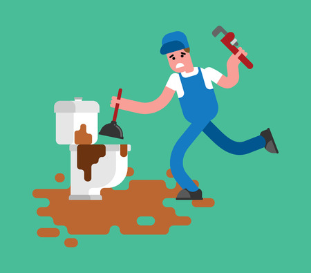 Plumber and dirty toilet. Cleaning pipes. Repair of plumbing. Vector illustration Vettoriali