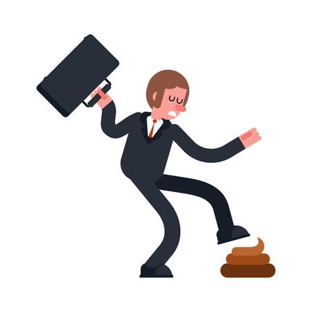 Step into shit. Businessman goes and turd. Bad day. Vector illustration