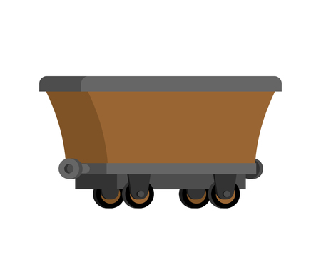 Mining Trolley empty isolated. Mining Extraction mineral. Vector illustration