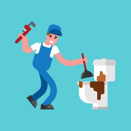 Plumber and dirty toilet. Cleaning pipes. Plumbing repair. Vector illustration Vectores