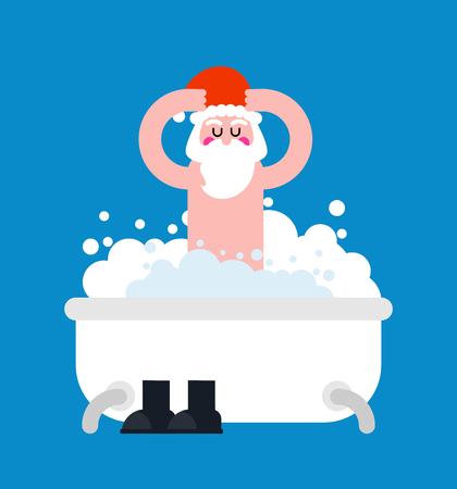 Santa Claus in bath. Christmas grandfather washes in bathroom. New Year Vector Illustration  Illustration