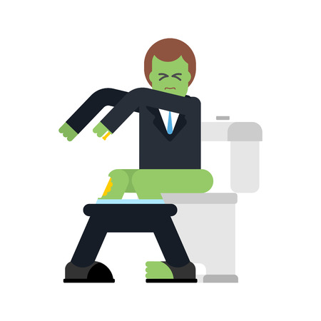Zombie on toilet. Green dead man in WC. Vector illustration