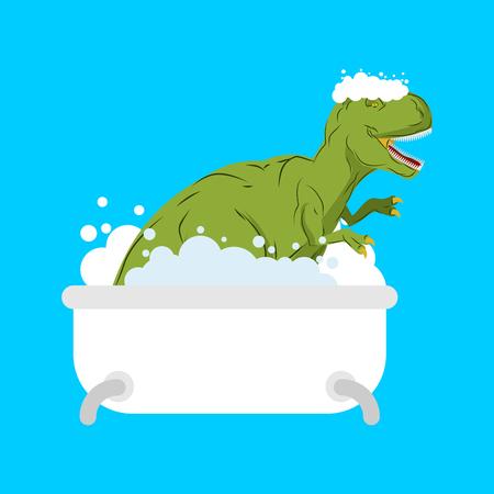 Dinosaur in bath. Tyrannosaurus is washed in bathroom. Prehistoric monster. Vector illustration Illustration