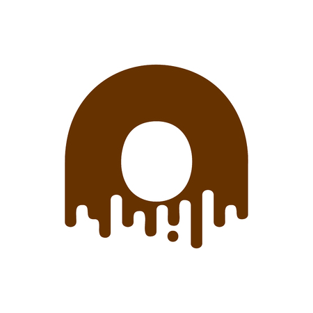 Letter O Chocolate font. Sweetness alphabet. Liquid lettering. Sweet viscous ABC sign