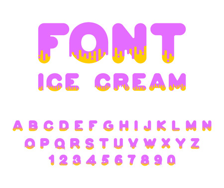 Ice cream font. Sweetness alphabet. Liquid lettering. Sweet viscous ABC sign. Dessert vector illustration