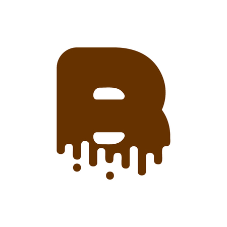 Letter B Chocolate font. Sweetness alphabet. Liquid lettering. Sweet viscous ABC sign