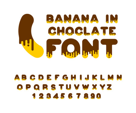Banana in chocolate font. sweetness alphabet. Liquid lettering. Sweet viscous ABC sign. Dessert vector illustration Illustration