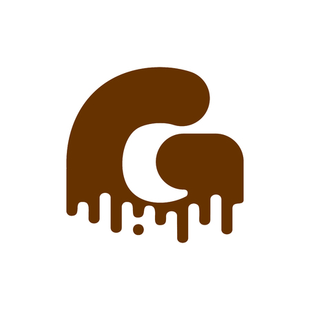 Letter G Chocolate font. Sweetness alphabet. Liquid lettering. Sweet viscous ABC sign