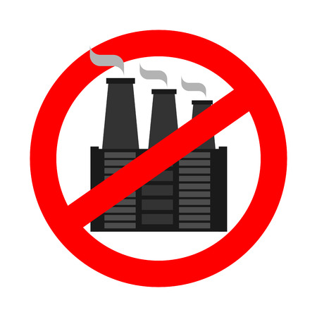 Stop pollution of environment. Plant is prohibited. Ban factory. Red prohibitory sign Фото со стока - 90702748