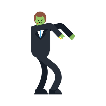 Zombie businessman isolated. Boss is dead. Vector illustration