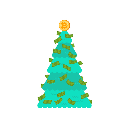 Christmas tree financial. Bitcoin and dollars decoration. Symbol of Wealth and Prosperity. New Year vector illustration.