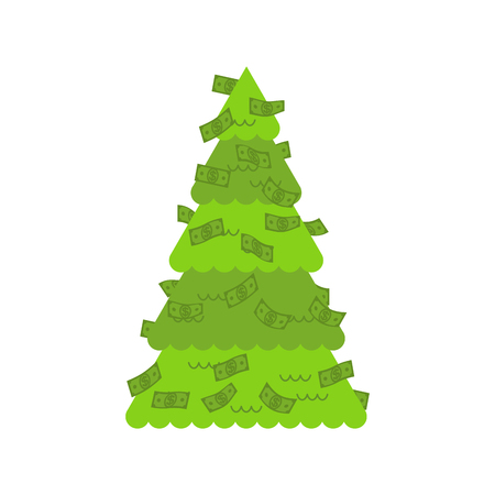 Christmas tree financial. dollars decoration. Symbol of Wealth and Prosperity. New Year vector illustration.  Illustration
