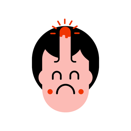 Bump on head isolated. Pain and grief face. Vector illustration