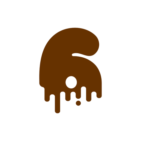 Number 3 Chocolate font. Sweetness numeral Three alphabet. Liquid lettering figure. Sweet viscous ABC sign Illustration