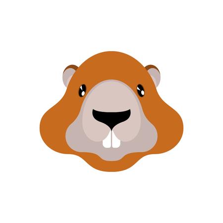 Marmot head icon illustration for Groundhog Day holiday