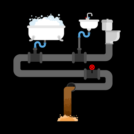 Sewerage system in house concept illustration on black background. 矢量图像
