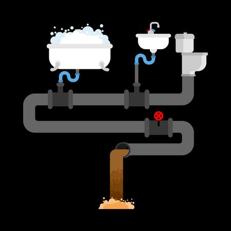 Sewerage system in house concept illustration on black background. Illustration