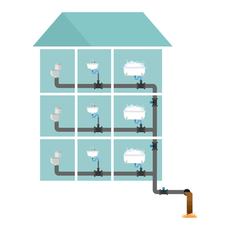 Sewer system in house concept illustration with sink and toilet bowl Illustration