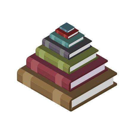 책, 지식 및 교육 개념 그림의 피라미드입니다. 일러스트
