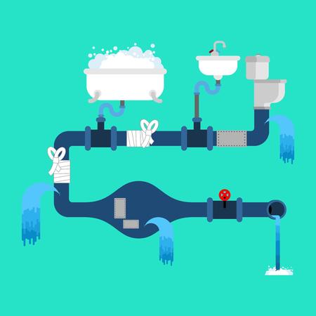 Broken water supply concept illustration. Çizim