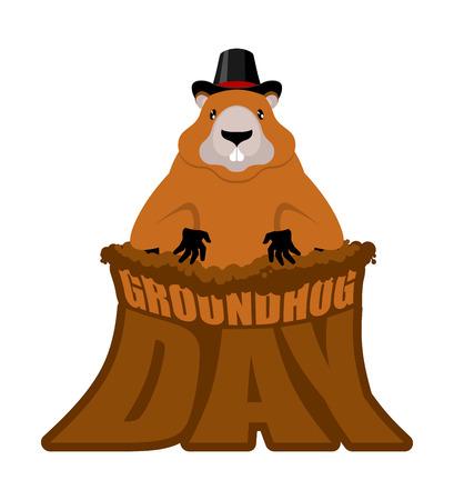 Groundhog Day design illustration. Vectores