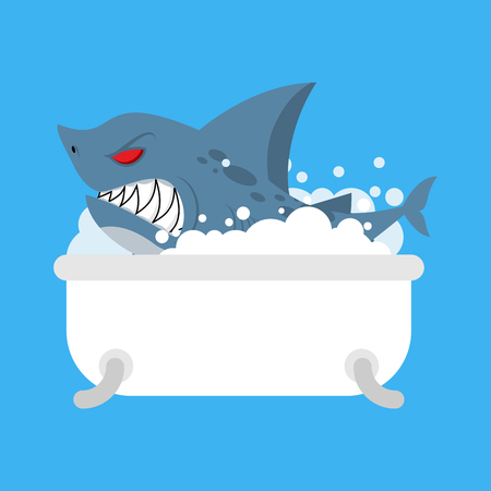 Shark in bath. Sea predator in bathroom illustration.