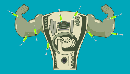 Doping for Dollar. Strong money and steroids. Syringe with anabolic. Bodybuilder cash. Vector illustration.