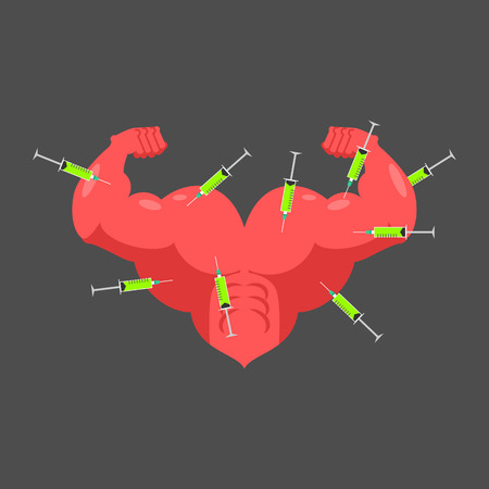 Doping for love. Strong heart and steroids. Syringe with anabolic. Bodybuilder love. Vector illustration Illustration