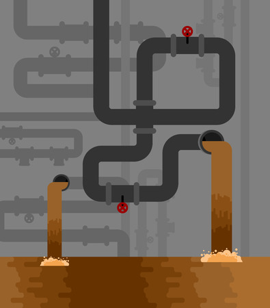 Underground sewerage System pipe. Water supply and Sanitation Sewage. Vector illustration Foto de archivo - 93636168