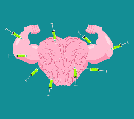 Doping for Brain. Strong Mind and steroids. Syringe with anabolism. Bodybuilder Memory. Vector illustration Illustration