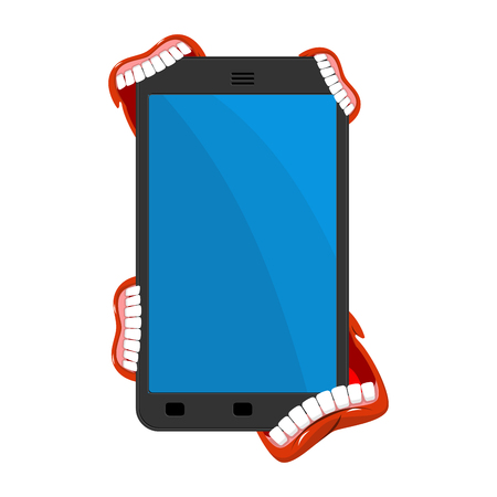 Smartphone is infected with viruses. Virus is eat phone. Web security concept. Vector illustration.