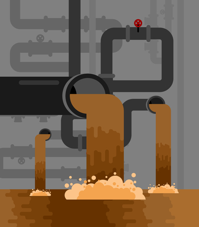 Underground sewerage System pipe. Water supply and Sanitation Sewage. Vector illustration Illustration