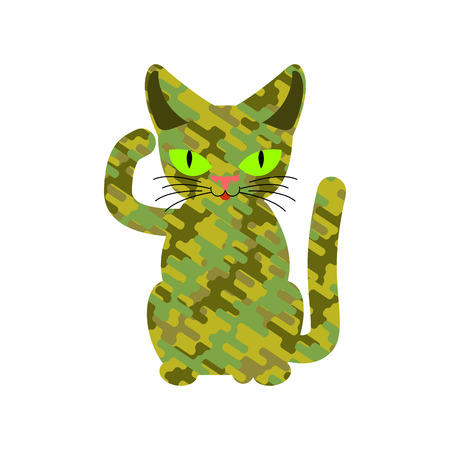 Military cat. Wool khaki protective texture. Army pet Illustration