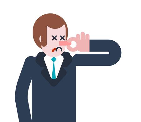 Stink Man Close nose. Guy and Bad smell. Vector illustration Illustration