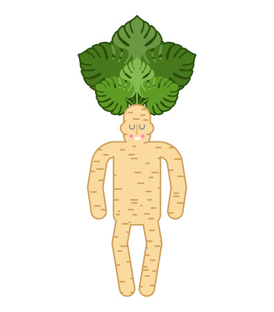 Mandrake root man, tie and case, tragic plant vector illustration. Illustration