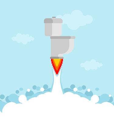 Toilet rocket with turbine is flying. Jet toilet. Vector illustration  Illustration