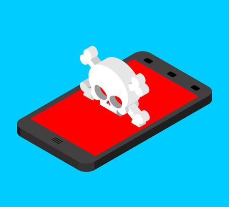 Virus in smartphone. Cyber attack on phone. Skull on screen. Blocked  Gadget does not work. Vector illustration  Illustration
