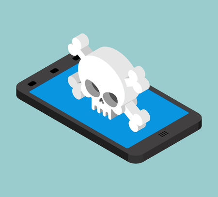 Virus in smartphone. Cyber attack on phone. Skull on screen. Blocked  Gadget does not work. Vector illustration  Illustration