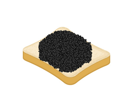 Sandwich with black fish caviar isolated vector illustration.