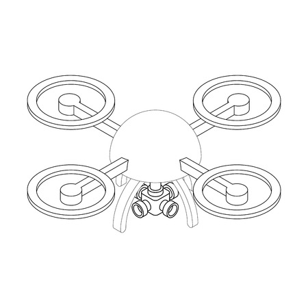 Quadrocopter with camera isometry isolated on white background.