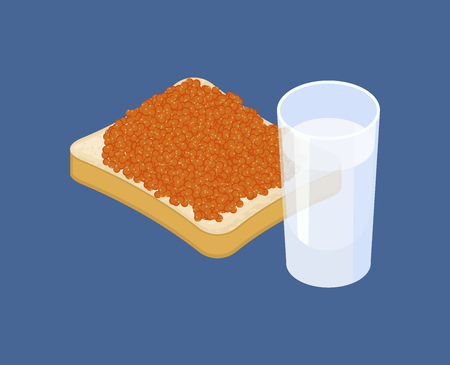 Red caviar and glass of vodka, Russian national food.