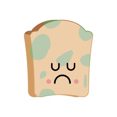 Sad bread with mold emoji, foul food vector illustration.