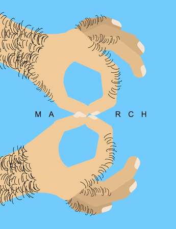 March 8, Male hand with finger symbol figure eight for International Women's Day. Vectores