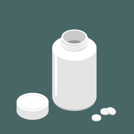 Plastic jar open lid for tablets and pills on colored background. Vectores