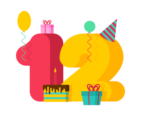 12 year greeting card Birthday. 12th anniversary celebration Template. twelve number and festive piece of cake with candle. Balloon and Gift box. Illustration