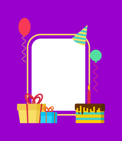 Birthday card. Template of anniversary. Place for text. Holiday accessories. Balloon and cake. Gift box.
