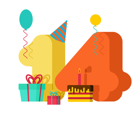 14 year greeting card Birthday. 14th anniversary celebration Template. fourteen number and festive piece of cake with candle. Balloon and Gift box.