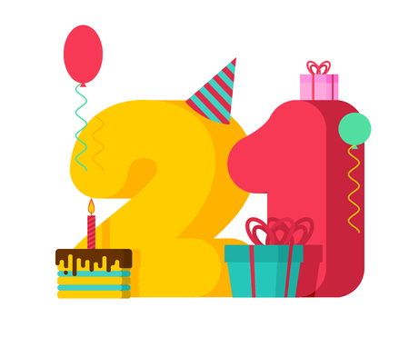 21 year Birthday sign. 21th Template greeting card anniversary celebration. twenty-one number and festive piece of cake with candle. Balloon and Gift box.   イラスト・ベクター素材
